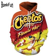 BombFun Men Hoodies Funny 3d Sweatshirts Men Hoodie Cheetos Print Hooded Couple