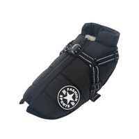 Black-Large Pet Dog Jacket With Harness Winter Warm Dog Clothes