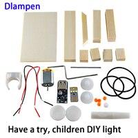 Nova DIY led luz para crianças experimento científico de indução eletromagnética lâmpada lâmpada de madeira