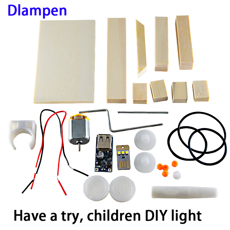 New DIY Led Light For Children Scientific Experiment Electromagnetic Induction Wood Bulb Lamp