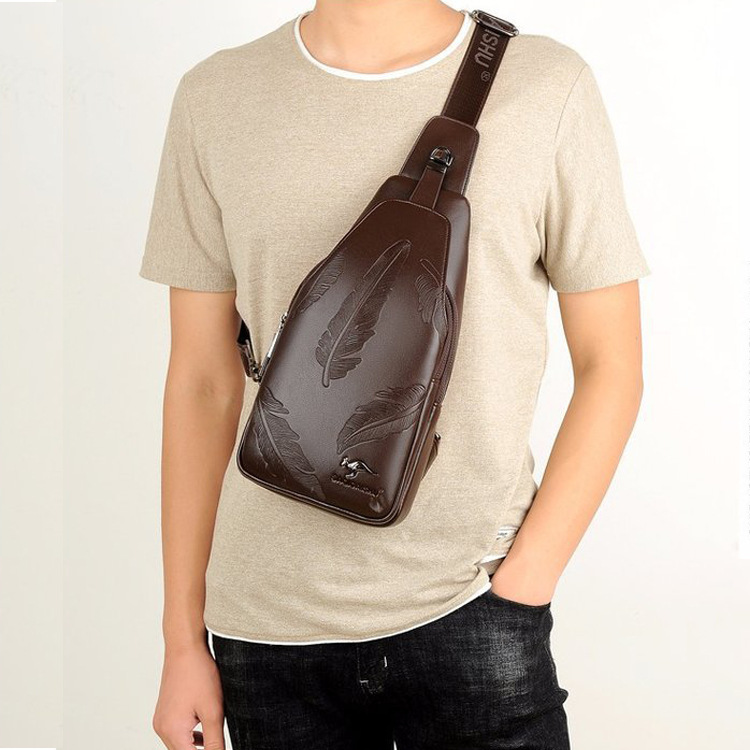 PU Leather Men Chest Pack New Style Shoulder Bag Headset Jack Anti-Theft Chest Bag Hot Selling Casual Backpack