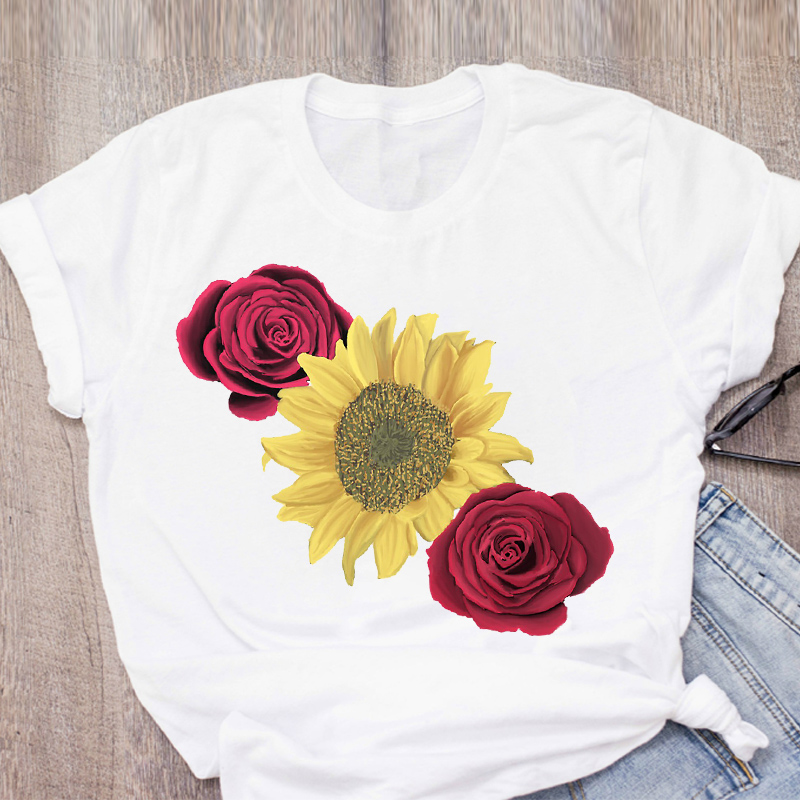 Women Graphic Sunflower Rose Fashion Printed Cute Fruit Summer Lady Tops T-Shirt Shirt Womens Clothing Tee Female T Shirt