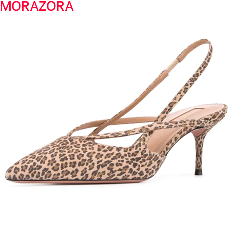 MORAZORA 2020 Plus Size 34-45 High Heels Shoes Fashion Leopard Sexy Women Pumps Stiletto Heels Pointed Toe Party Shoes