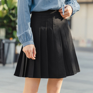 Image 3 - INMAN 2020 Spring New Arrival Literary Preppy Style Age reducing High Waist Pleated Skirt