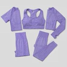 Sem costura conjunto de yoga feminino 2/3/5 pçs workout roupas de ginástica roupas de fitness manga longa colheita superior cintura alta leggings ternos esportivos