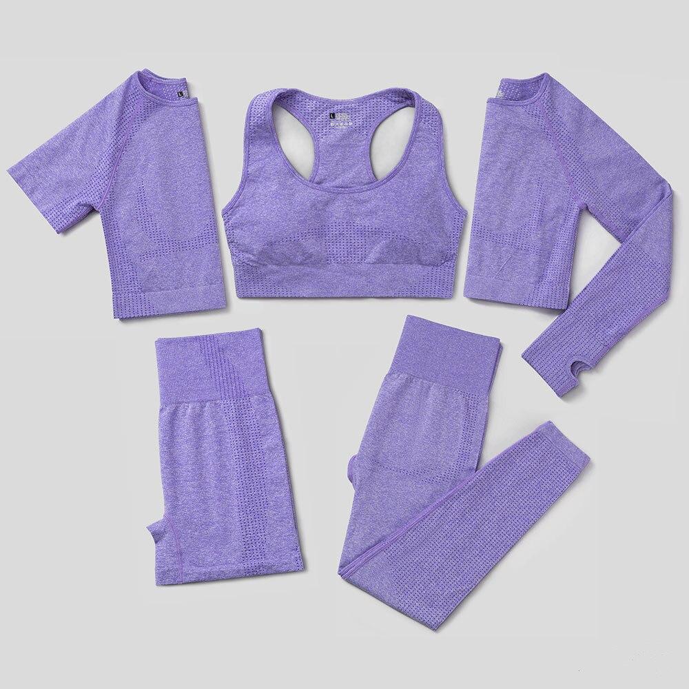 Sem costura conjunto de yoga feminino 2/3/5 pçs workout roupas de ginástica roupas de fitness manga longa colheita superior cintura alta leggings ternos esportivos|Kits de ioga|   -