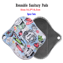 лучшая цена 3pcs women's Panty Liner Cloth Menstrual Pad Bamboo Charcoal Mama Period Sanitary Reusable Washable Pads