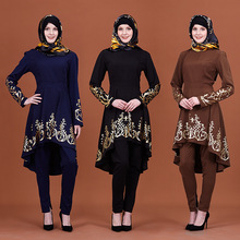 Blouse Clothing Tops Hijabs Abaya Print-Shirt Long-Sleeve Muslim Fashion Women Formal