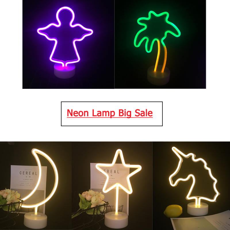 Big Sal Neon Lamp Clearance Price / Neon Sign Lamp / AA Battery Night Lamp / Home Table Led Lamp Unicorn Love Star Moon Flamingo