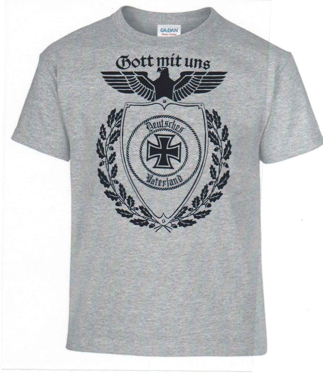 T Shirts Fashion 2019 T-Shirt, Germany, Iron Cross, God With Us, German Reich