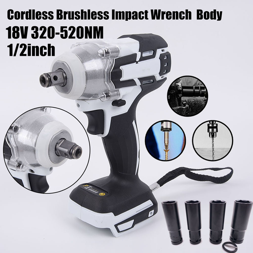 New 520Nm 1/2inch Cordless Impact Wrench Body No Batteries For Makita 18V Battery Impact Wrench Body