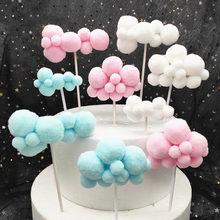 Creative ins wind cloud cake decoration card white cloud cloud ball ball flag birthday cake plug-in venue decoration flag fittin(China)