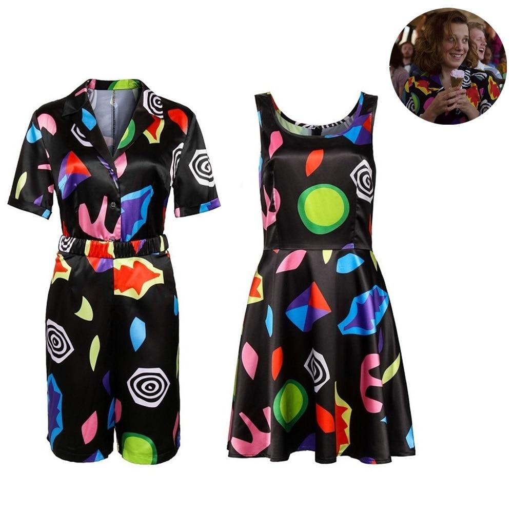 Stranger Things Season 3 Eleven Cosplay Costume Shirt Dress Halloween Jumpsuits