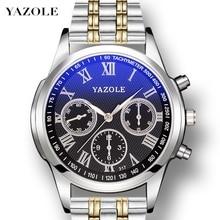 YAZOLE Watch Men Blue Ray Mens Business Watches Waterproof Quartz Wristwatch Man Clock Luminous Stainless Steel Zegarek Damski цена