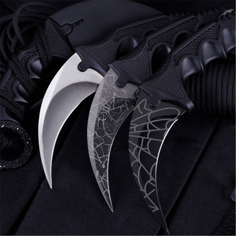 Steel Claw Knives Karambit Hunting Knife No Edge Tactical Claw Neck Knife Camp Hike Outdoor Self Defense Hunting Survival Knife