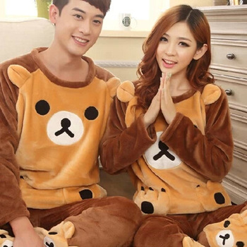 Spring, Autumn And Winter Easily Bear Warm Tracksuit Men Women Couples Biscuit Thick Flannel Pajamas