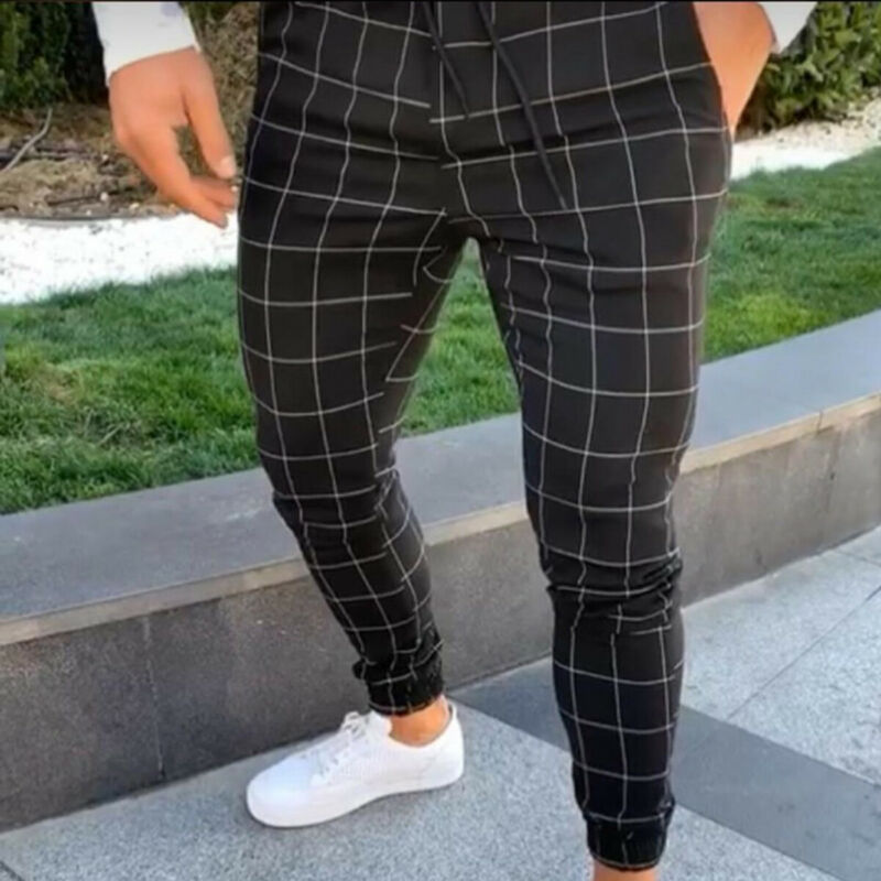 Men's Slim Fit Plaid Straight Leg Trousers Pockets Drawtring Jogger Running Sport Party Fashion Casual Pencil Pants Streetwear