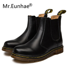 Winter Fall Boots Women Men Couple Casual Shoes Genuine Leather Round Toe Slip-On Ankle Boots Dr Classic Martins Chelsea Boots недорого