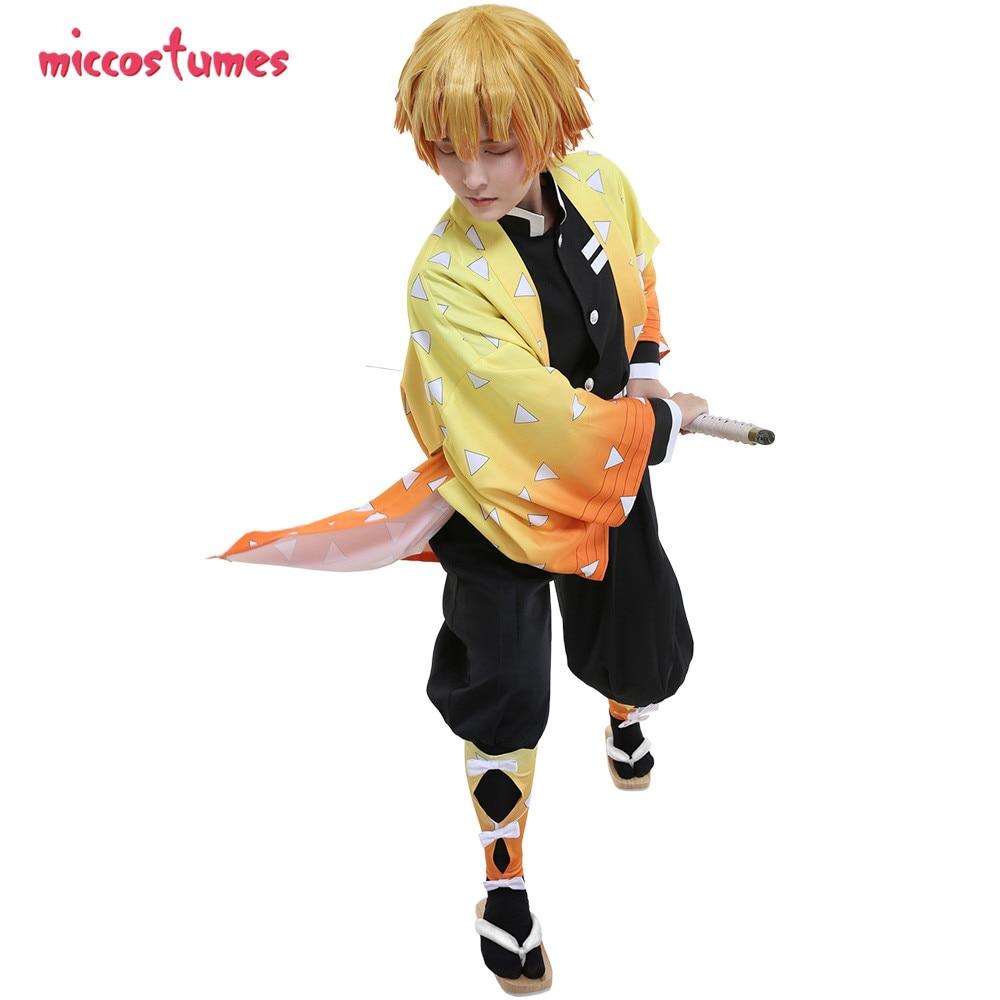 Agatsuma Zenitsu Cosplay Demon Slayer Kimetsu No Yaiba Demon Killing Corps Demon Hunter Uniform Cosplay Costume