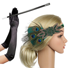 1920s Flapper Accessories Feather Headband Gloves Cigarette Holder 3 Pack Great Gatsby Party Costume Accessories Set for Women