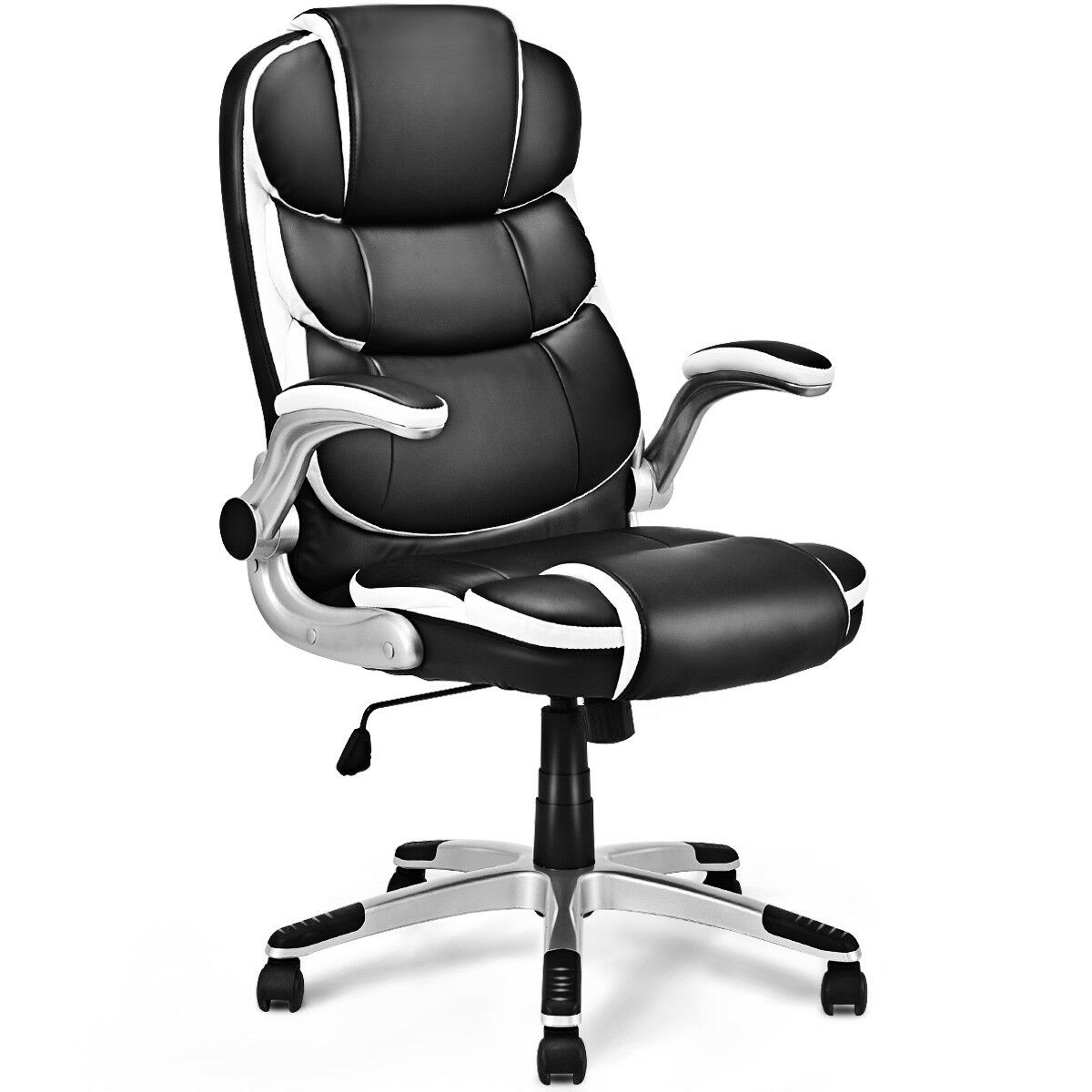 Costway PU Leather High Back Executive Office Chair Swivel Desk Task Computer Ergonomic