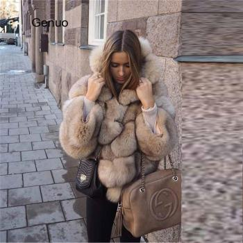 Winter Plus Size Outwear Women Faux Sheep Fur Fox Coat Warm Long Sleeve Jacket Hooded Overcoat