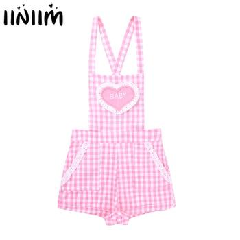 iiniim Adult Womens Cute ABDL Clothing Baby Patch Criss-cross Back Gingham Print Babydoll Short Overalls Shortalls Jumpsuits 4