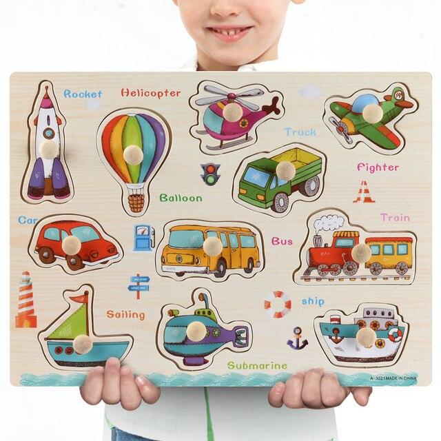 Nuovo 30cm Giocattoli Del Bambino Montessori Puzzle Di Legno A Mano Grab Educativi Puzzle di Legno per I Bambini Del Fumetto Animale Bambino Veicolo regalo 3