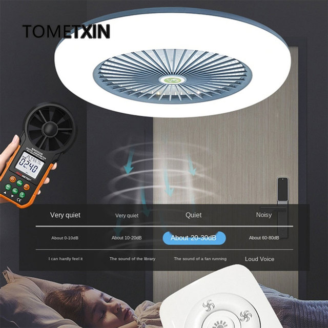 55cm led ceiling fan with lights remote control fans for home lamp lighting bedroom living silent 220v app smart Dimmable