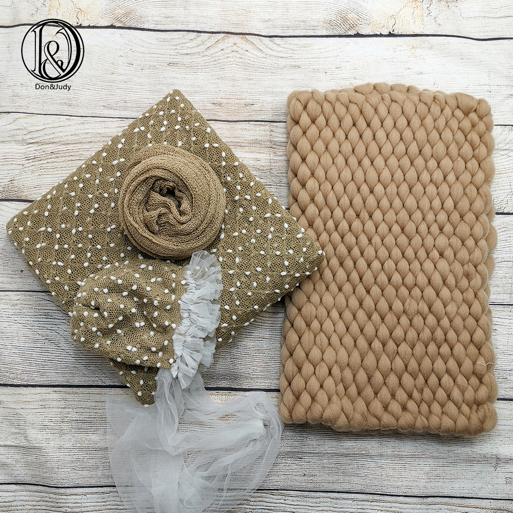 Don&Judy 4pcs/set for Newborn Photo Shoot Fabrics Backdrop + Bonnet Hat + Blanket + 140x30cm Wrap Photography Prop Accessories