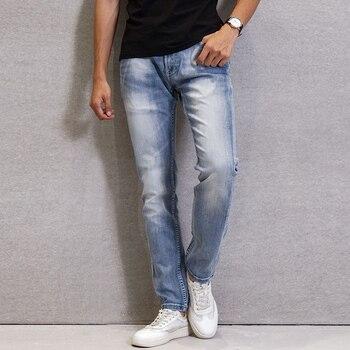 Fashion Streetwear Men Jeans Autumn New Designer Classical Slim Jeans Men Casual Denim Pants Light Blue Vintage Designer Jeans fashion designer men jeans blue 100