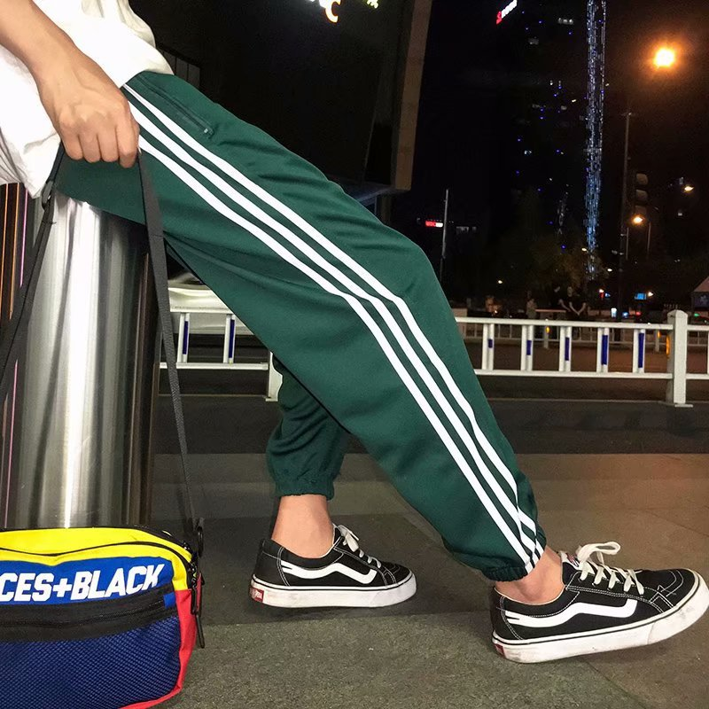 Summer And Autumn Teenager Casual Ankle Banded Pants Korean-style Men And Women Athletic Pants Three Bars Elastic Pants Skinny H