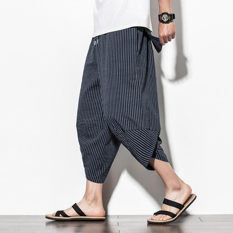 Baggy Cotton Harem Pants Men 2020 Summer Japanese Vintage Striped Men Women Hip Hop Plus Size Wide Leg Pants Pantalon