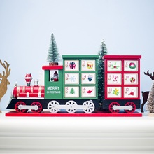 Advent Calendar Christmas Ornament Wooden 24 Drawers Painted Small Train Countdown Calendar Storage Box New Year Decoration 1PC