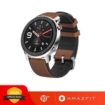 النسخة العالمية Amazfit GTR 47 مللي متر ساعة ذكية 5ATM مقاوم للماء Smartwatch 24 أيام بطارية تحكم بالموسيقى حزام سيليكون جلدية