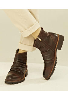 ZYYZYM Chelsea-Boots High-Top Zipper Vintage-Style Autumn Botas Hombre Spring Men Ankle