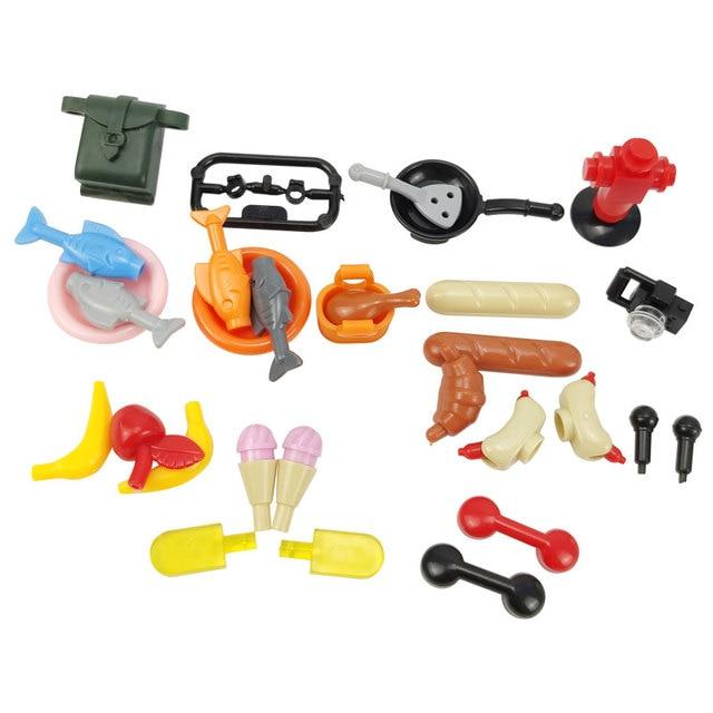 Compatible for Locking Bricks Food Bread Apple Banana Animals Set Sale MOC Building Blocks Toys for