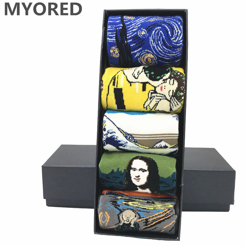 MYORED 5 Pair/lot Men's Painting Socks Cotton Retro Oil Painting Socks Crew Funny Sock Casual Dress Colorful Wedding Gift NO BOX