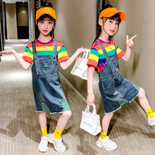Summer Girls Clothing Set 2020 Children Striped T shirt & Strap Dress 2Pcs Girls Outfits Casual Teen Kids Clothes Suit 3-13Y