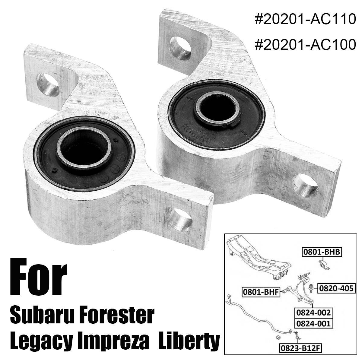 ด้านหน้าแขนควบคุม BUSHING 2 ชิ้น/เซ็ตสำหรับ Subaru สำหรับ Forester สำหรับ LEGACY สำหรับ Impreza สำหรับ Liberty 20201-AC100 20201-AC110