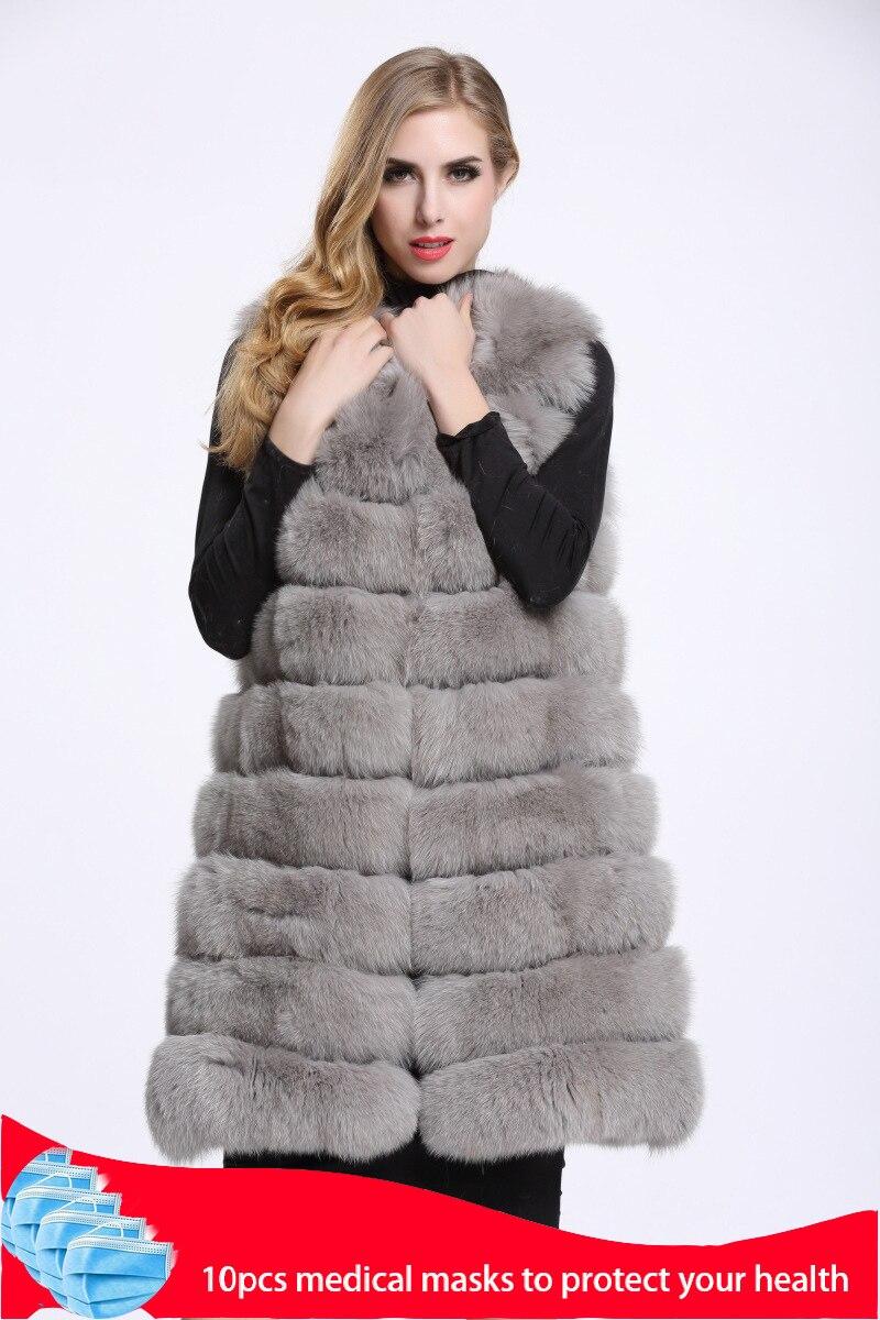 Medium And Long Fashion Fox Fur Vest Womens Winter Fur Coat Vest  Artificial Fur Fuake  Jackets Plus Size Overcoat S 3XLFaux Fur   -
