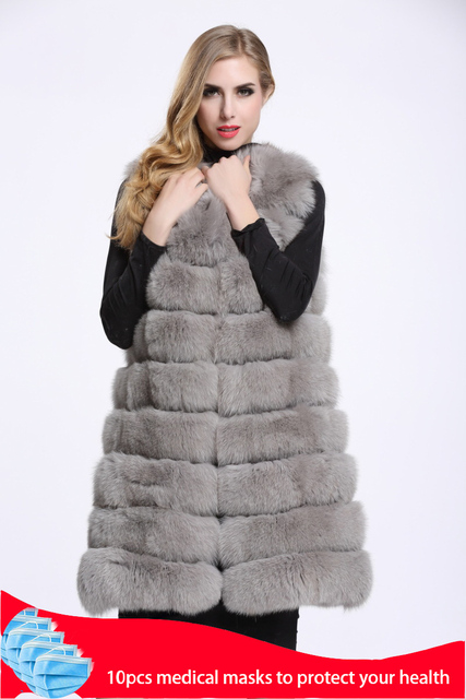 Medium And Long Fashion Fox Fur Vest Womens Winter Fur Coat Vest Artificial Fur Fuake  Jackets Plus Size Overcoat S 3XL