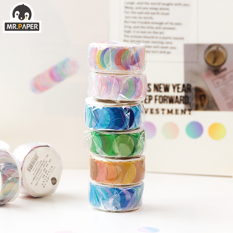 Mr.Paper 14*14mm Hard Candy Dot Color Washi Journaling Writing Memory Washi Tape Deco Gift Label Ins Masking Tapes Easy to Tear 2