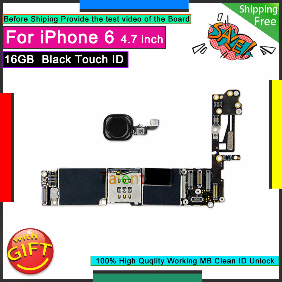 Для IPhone 6 материнская плата 16GB Black Touch ID разблокированная разборная материнская плата Хорошая рабочая материнская плата протестированная по