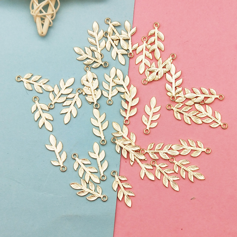 20pcs Zinc Alloy Golden Mini Leaves Charms Floating For DIY Fashion Drop Earrings Jewelry Making Accessories Tree Leaf Pendants 4