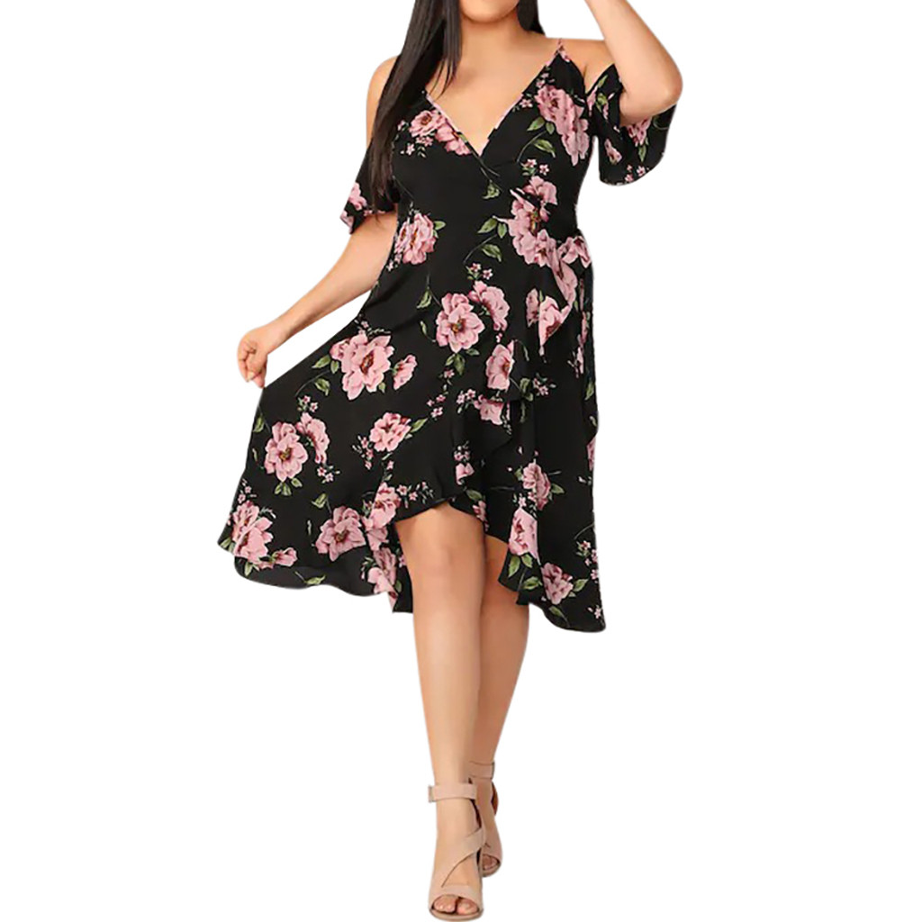 Womens <font><b>Sexy</b></font> Lacing Ruffle V-neck Sling Off Shoulder Split Floral Printed Dresses Fashion Fashion Girl Woman Autumn <font><b>S</b></font> image