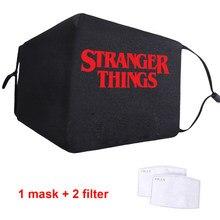 Moda estranho coisas impressão máscaras pm2.5 filtro reutilizável adulto máscara à prova de vento tecido capa boca poeira unisex lavável máscara macia