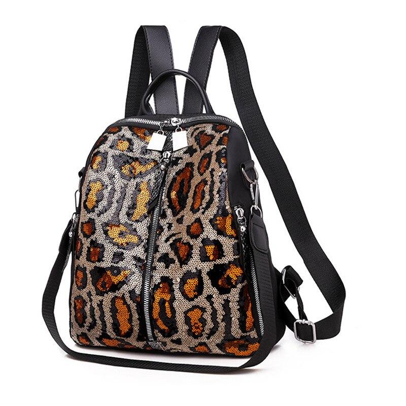 Дизайнерский Леопардовый женский рюкзак женские маленькие рюкзаки с пайетками Женские школьные рюкзаки для девочек рюкзак Mochila sac