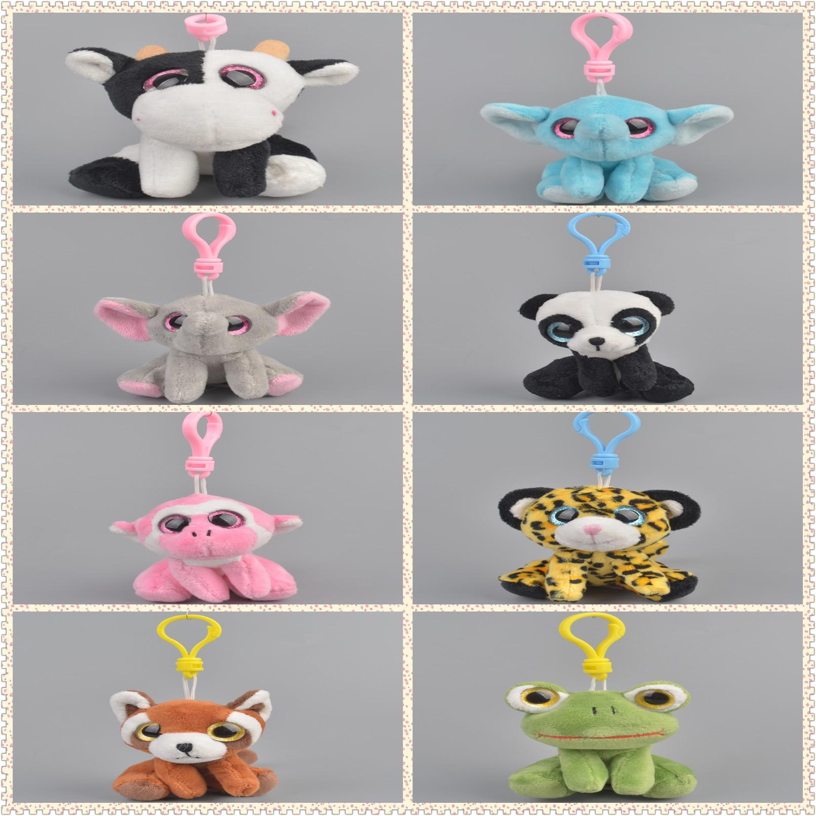Boos Big Eyes Plush Keychain Toy Doll Fox Owl Dog Unicorn Penguin Giraffe Leopard Monkey Dragon(China)