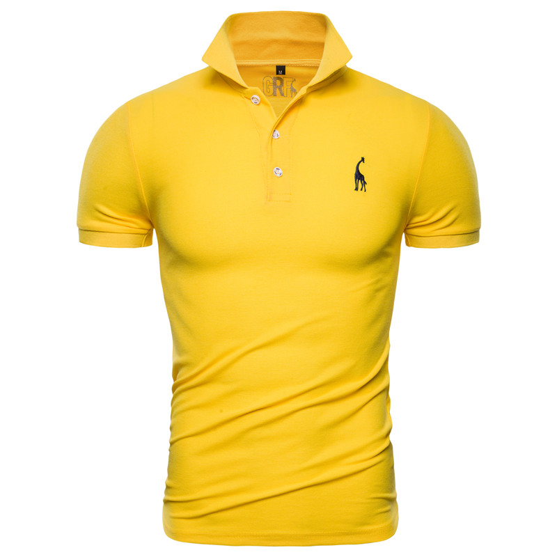 Men's Polo Short-Sleeve Embroidery Slim-Fit Casual Giraffe New Solid Cotton 10-Colors